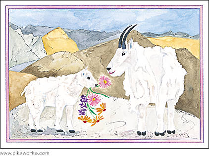 A kids mom at pika works mountain goat art mothers day card greeting card about mountain goat art mothers day card birthday card larkspur bookmarktalkfo Image collections