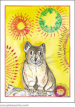 Greeting card about Capitol Peak pika, Colorado pika, pika friendship card, pika surprise card
