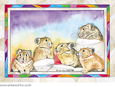 Greeting card about singing pikas art, pika birthday card, pika Christmas card, blank pika card