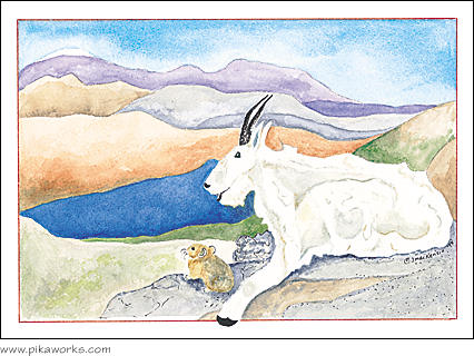 Greeting card about mountain goat art, mountain goat and pika painting, mountain goat friendship card, big and little friends, wildlife notecard