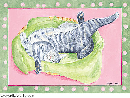 Greeting card about cat art, cat nap, taking a break, Pixel the cat relaxing, framed cat art, cat card, gray tiger cat art