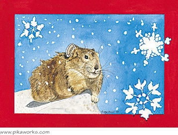 Greeting card about snowflake art, holiday greeting card, pika greeting card, pika blank card, pika notecard